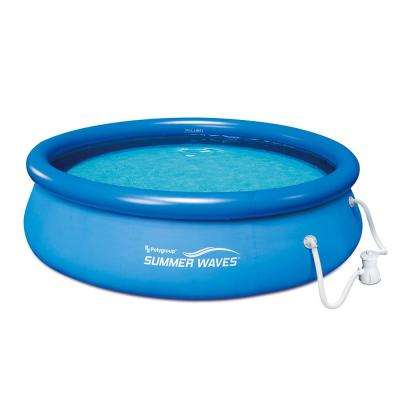 10 ft. x 30 in. D Round Inflatable Above Ground Pool Ring Quick Set with RX330 Filter Pump System