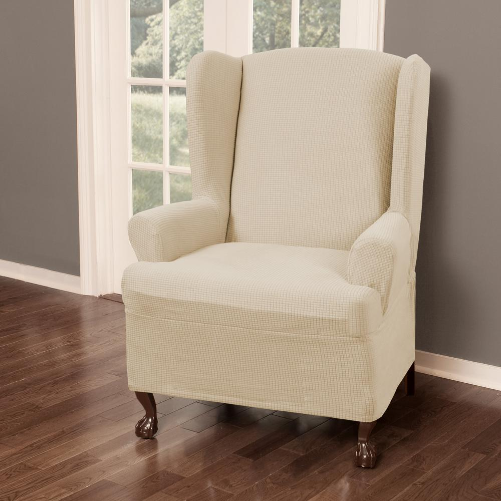 Reeves Stretch 1 Piece Natural Wing Chair Slipcover