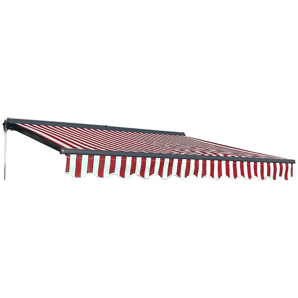 Aleko 10 Ft Half Cassette Retractable Awning 96 In Projection In Red And White Awc10x8rwstr05 Hd The Home Depot