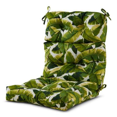 22 in. x 44 in. Outdoor High Back Dining Chair Cushion in Palm Leaves White