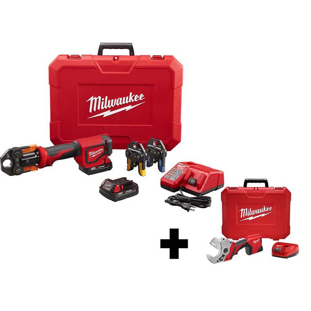 M18 18- volt Lithium-Ion Cordless Short Throw PEX Press Tool Kit with M12 PVC Shear Kit