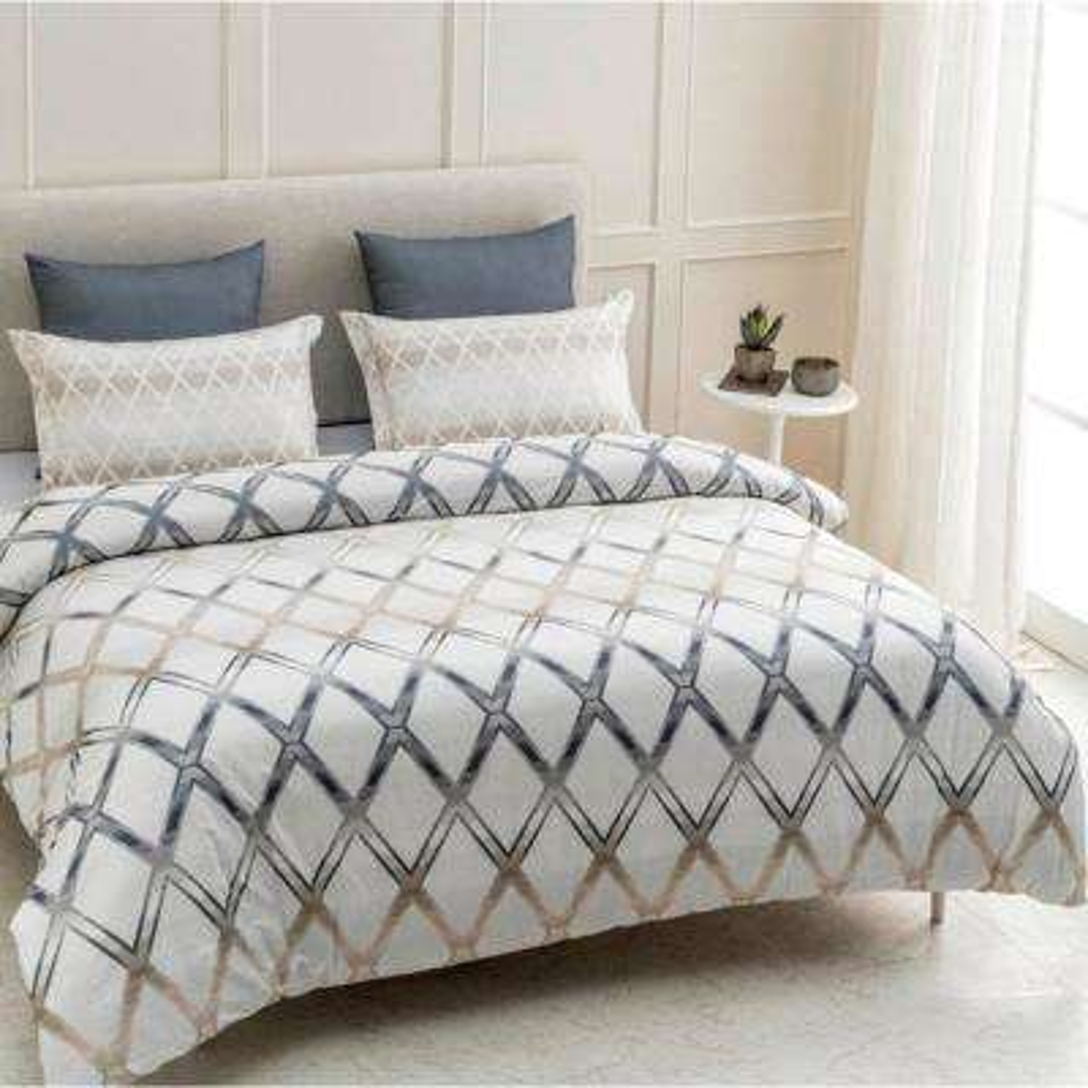 Geomania Wrinkle Resistant Reversible Print 100% Organic Cotton Multi-Color King Duvet Cover Set