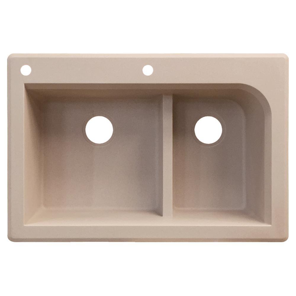 Radius Drop-in Granite 33 in. 2-Hole 1-3/4 J-Shape Double Basin Kitchen Sink in Cafe Latte
