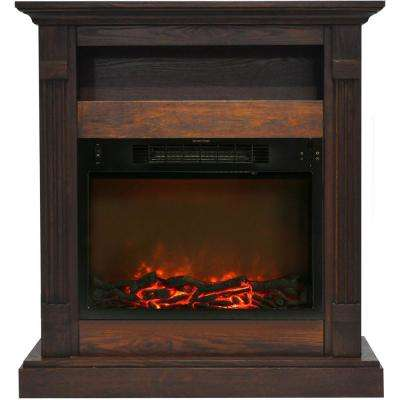 Sienna 34 in. Electric Fireplace with 1500-Watt Log Insert and Walnut Mantel