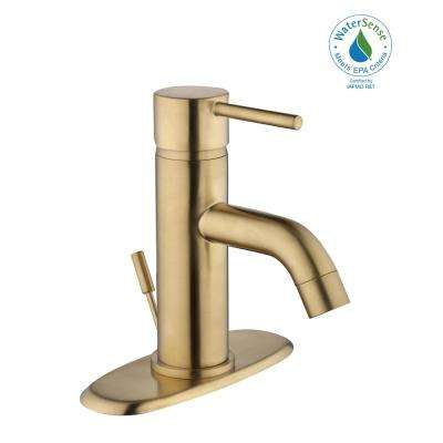 Centerset Single Handle Low Arc Bathroom Faucet In Matte Gold