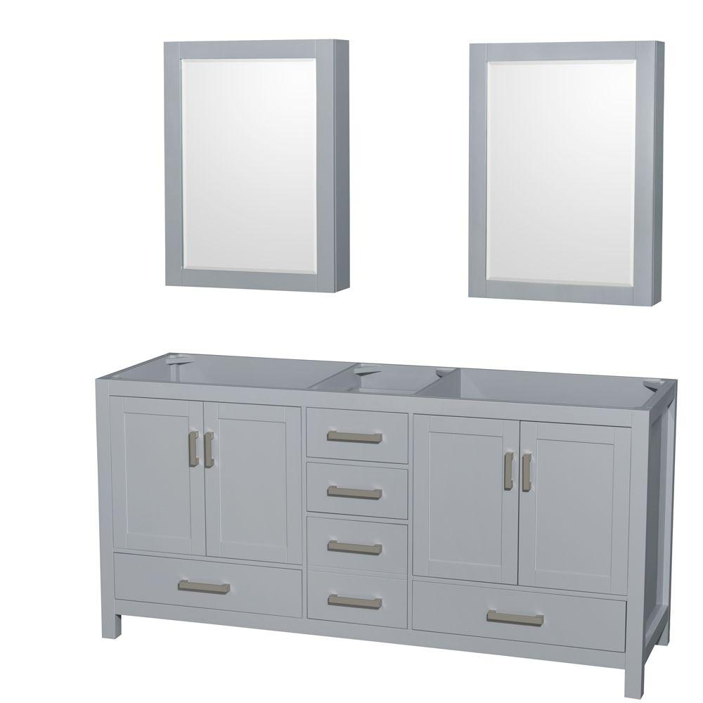 Superieur Wyndham Collection Sheffield 72 In. Vanity Cabinet With Medicine Cabinet  Mirrors In Gray