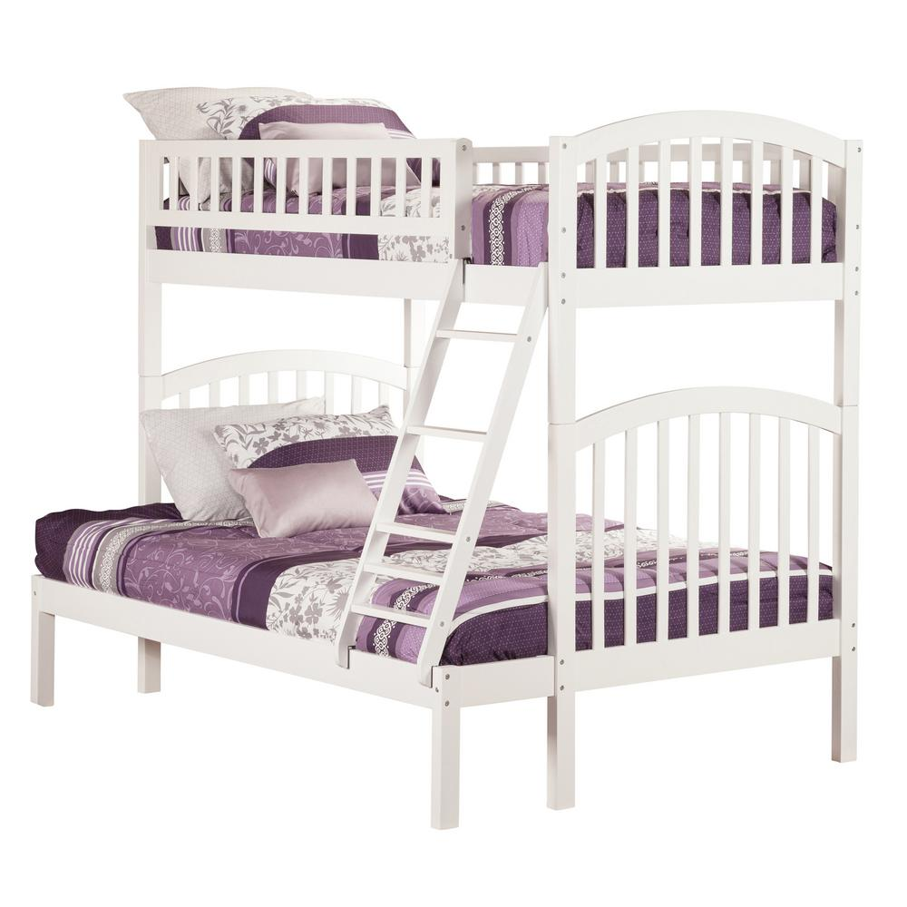 Atlantic Furniture Richland White Twin Over Full Bunk Bed