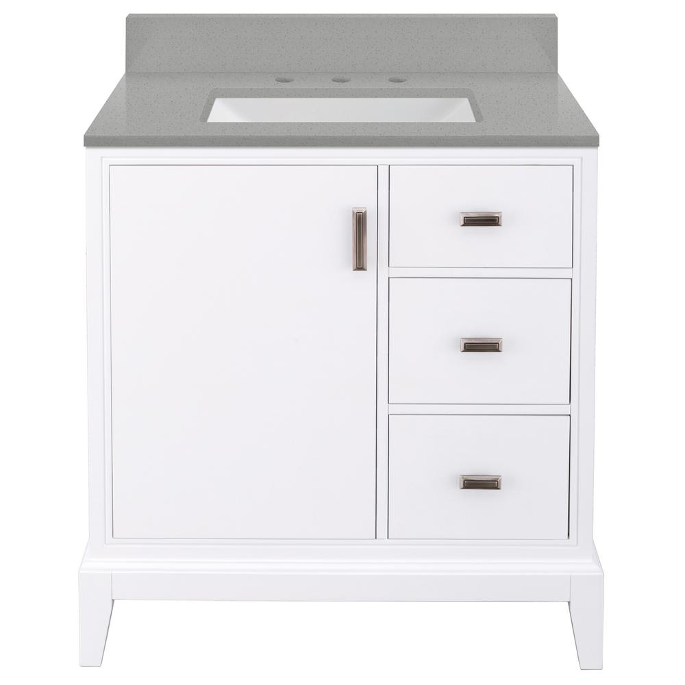 Home Decorators Collection Shaelyn 31 in. W x 22 in. D Vanity in White RH with Engineered Quartz Vanity Top in Sterling Grey with White Sink was $849.0 now $594.3 (30.0% off)