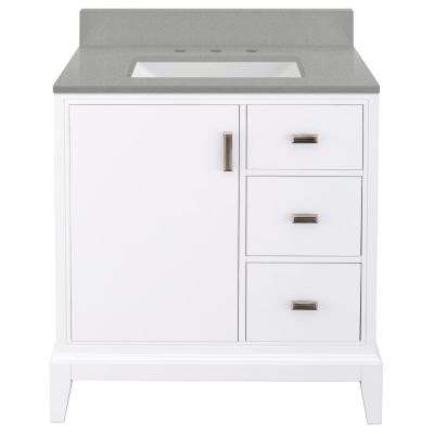 Shaelyn 31 in. W x 22 in. D Vanity in White RH with Engineered Quartz Vanity Top in Sterling Grey with White Sink