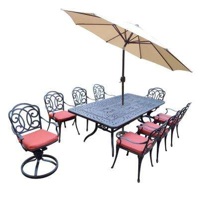 11-Piece Aluminum Outdoor Dining Set with Red Cushions and Beige Umbrella