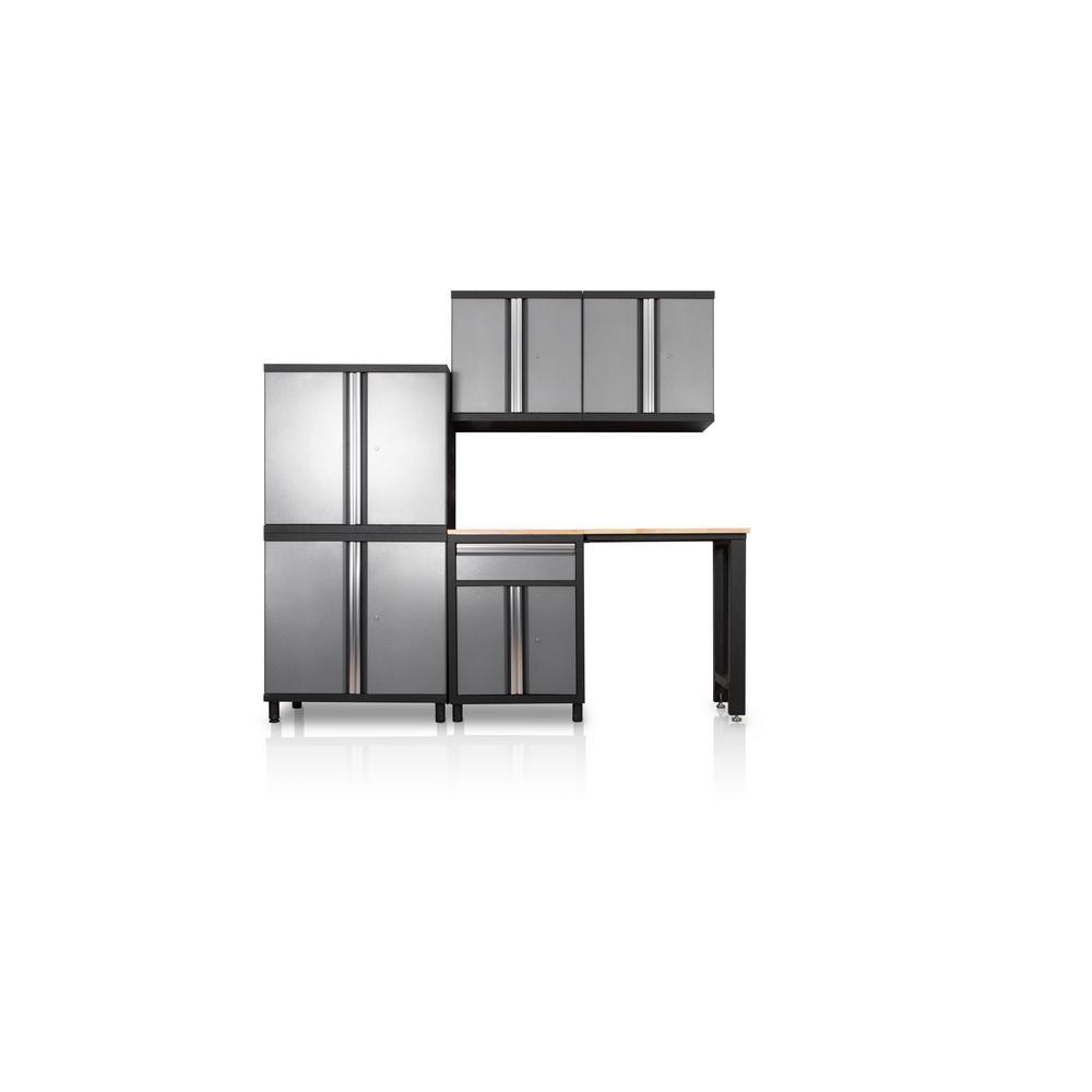 DuraCabinet Pro Series III 81.1 in. H x 95.5 in. W x 18 in. D 23/24-Gauge Steel Wood Worktop Cabinet Set in Gray (6-Piece)