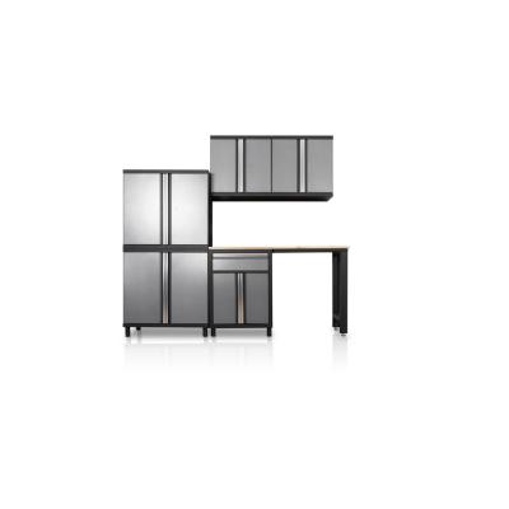 Pro Series III 81.1 in. H x 95.5 in. W x 18 in. D 23/24-Gauge Steel Wood Worktop Cabinet Set in Gray (6-Piece)