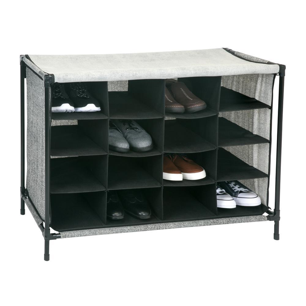 16 Compartment Black Shoe