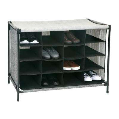 14 in. x 33 in. x 24 in. 16 Compartment Black Shoe Cubby