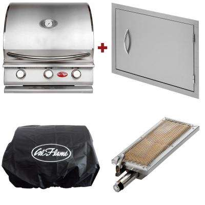G3 24 in. 3-Burner Built-In LP Grill in Stainless Steel with 27 in. Door, Sear Burner and Cover