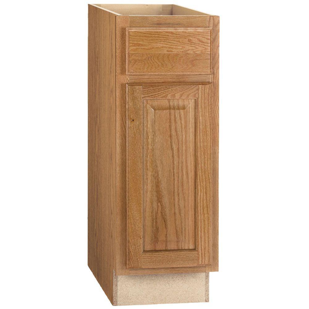 hampton assembled 12x34 5x24 in base kitchen cabinet with ball bearing drawer glides in medium oak rh homedepot com