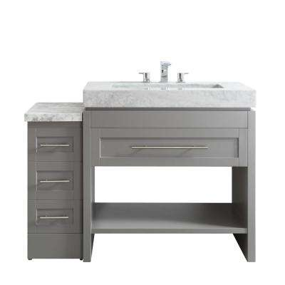 Bolzana 48 in. W x 23 in. D x 36 in. H Vanity in Grey with Drop-In Marble Cararra White Basin