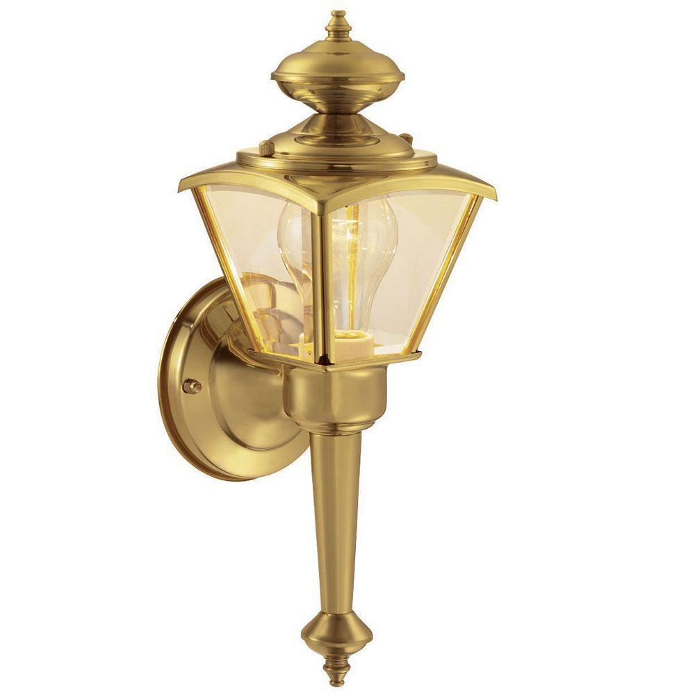 Hampton Bay 1 Light Polished Brass Outdoor Wall Lantern Wb0322 The Home Depot