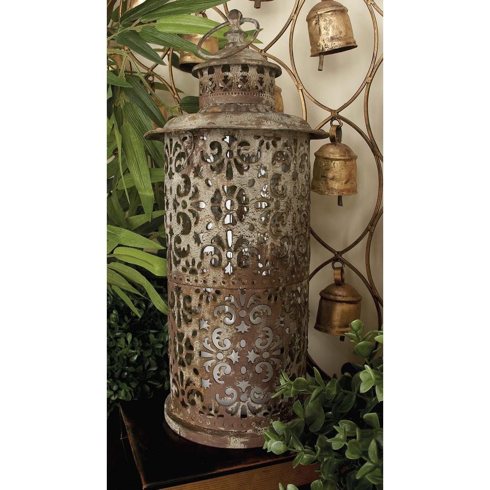 Rustic Distressed White Iron Candle Lantern with Fleur-De-Lis Cutouts