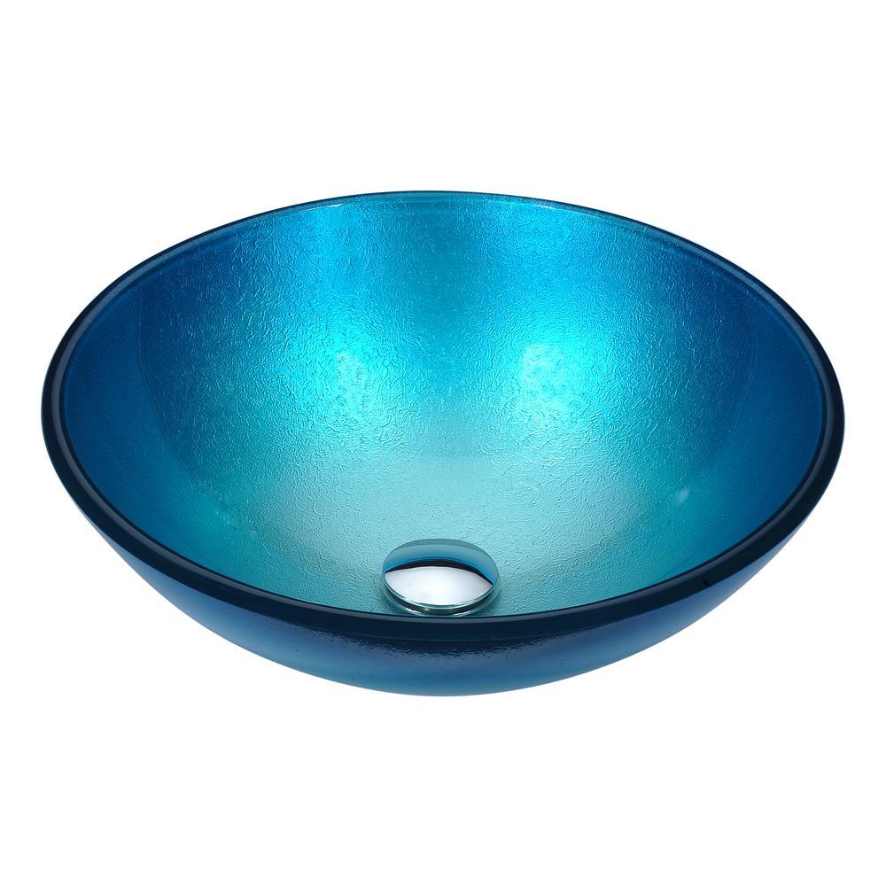 Posh Series Deco Glass Vessel Sink In Silver Blue