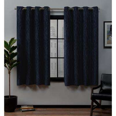 Forest Hill 52 in. W x 63 in. L Woven Blackout Grommet Top Curtain Panel in Peacoat (2 Panels)