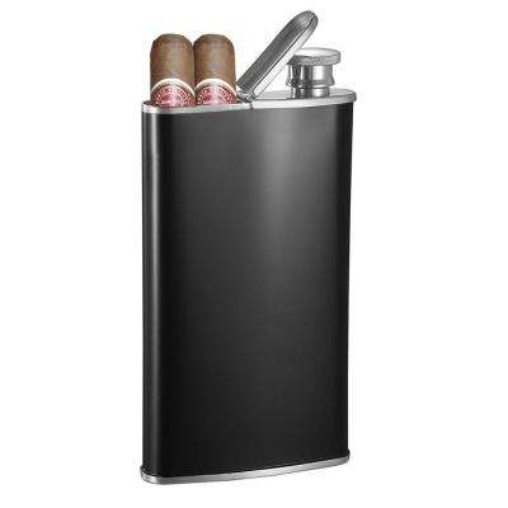 Edian 4 oz. Black Matte Built-in 2-Cigar Holder Stainless Steel Flask