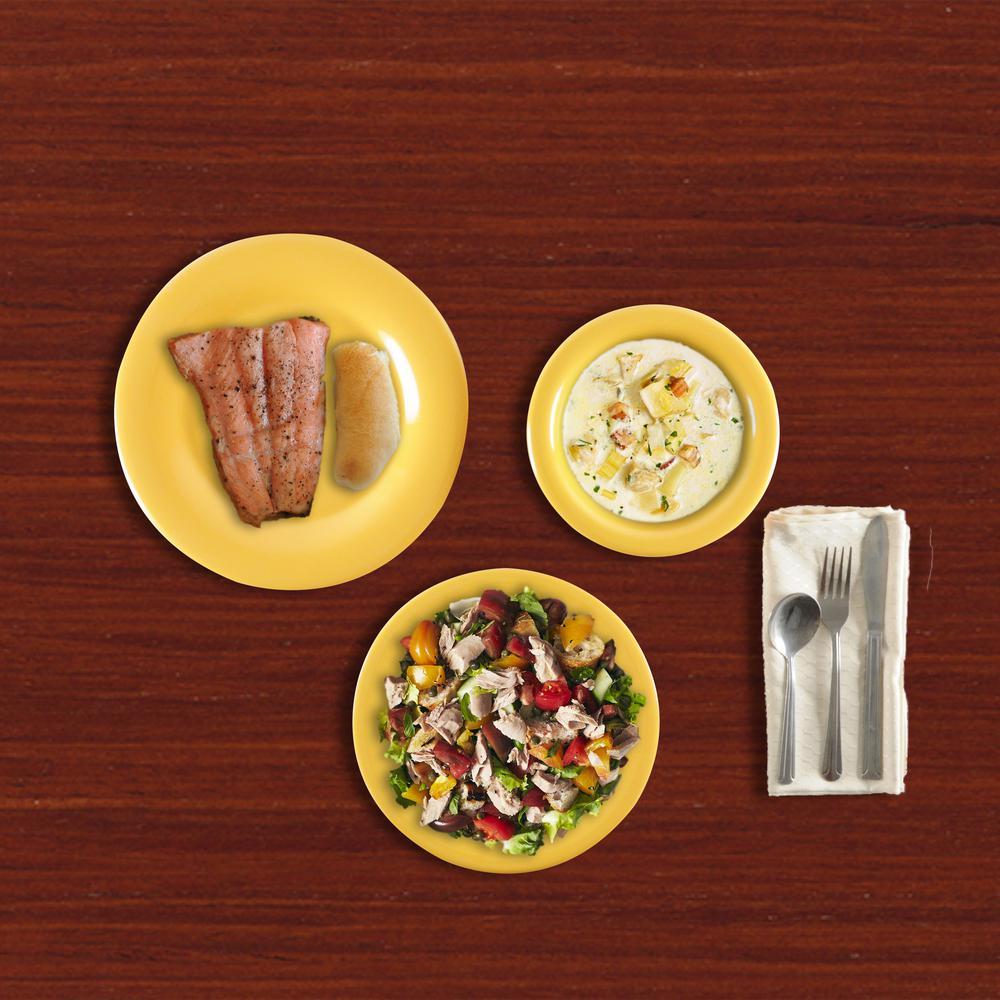 Wide Rim 12-Piece Yellow Dinnerware Set