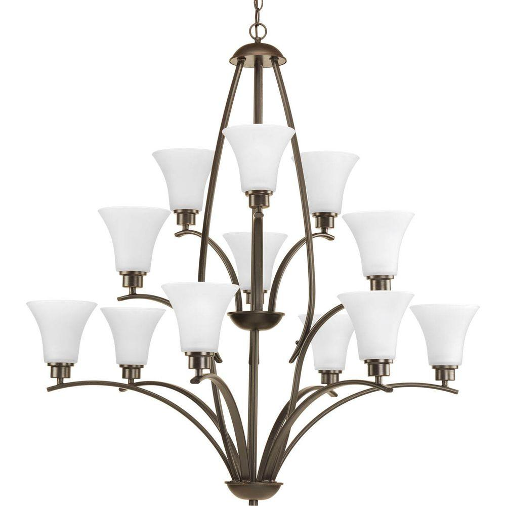 Joy Collection 12-Light Antique Bronze Chandelier with Etched White Glass