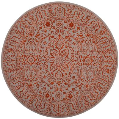 Kas Rugs Wavy Floral Mocha/Rust 6 ft  Round Area Rug