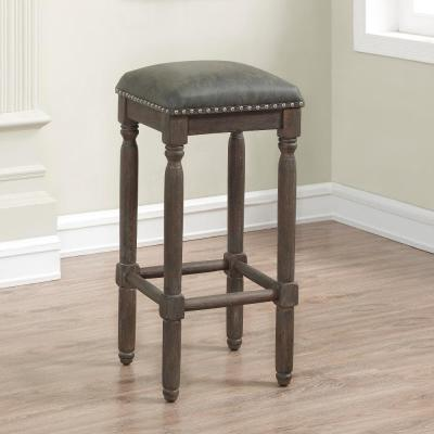 Bronson 26 in. Driftwood Grey Cushioned Backless Counter Stool