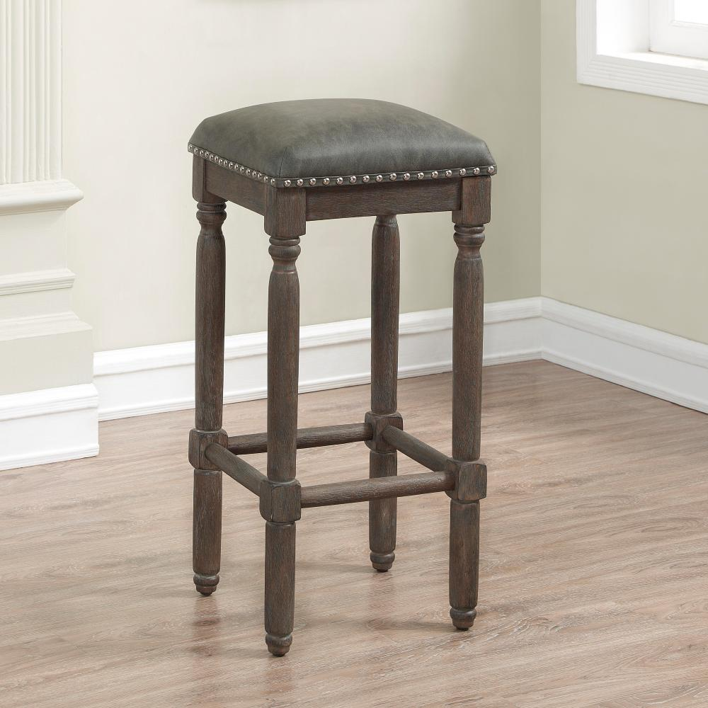 Driftwood Grey Cushioned Backless Counter Stool