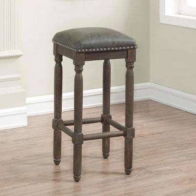 Bronson 30 in. Driftwood Grey Cushioned Backless Bar Stool