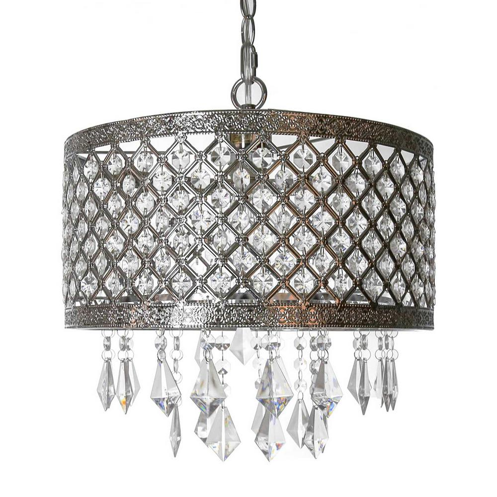 Plug in chandeliers lighting the home depot 1 light silver and crystal chandelier with lattice shade aloadofball Gallery