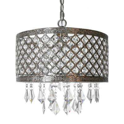 1-Light Silver and Crystal Chandelier with Lattice Shade