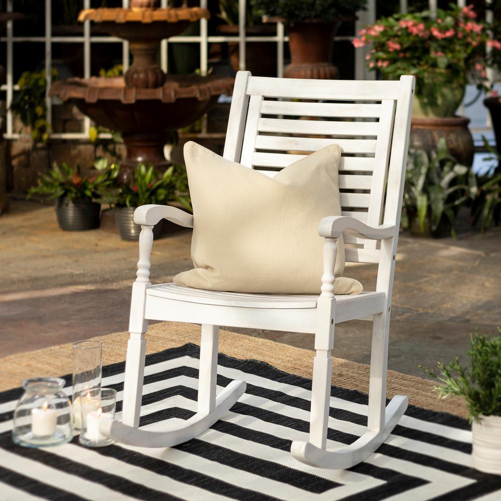 White Wash Acacia Wood Outdoor Rocking Chair