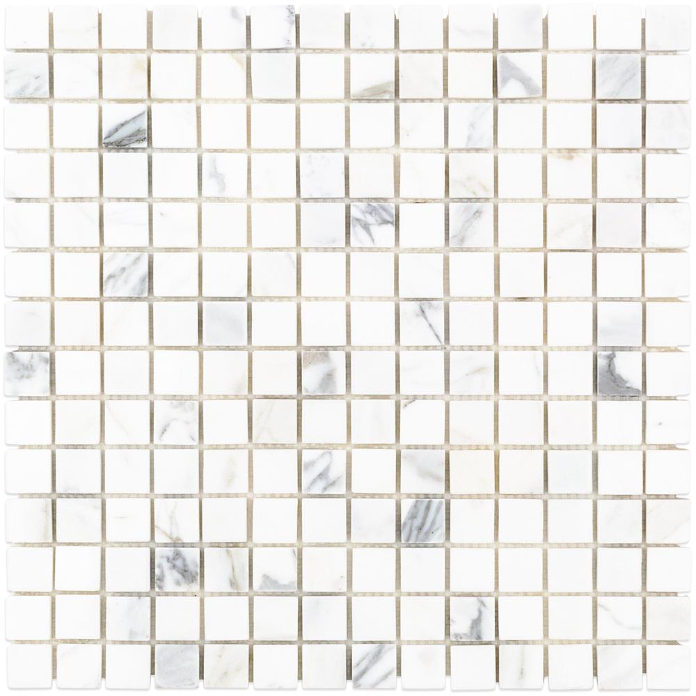 Ivy Hill Tile Calacatta Squares 12 in. x 12 in. x 10.5 mm Marble Mosaic