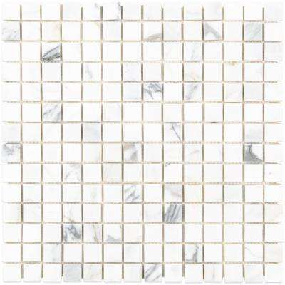 Calacatta Squares 12 in. x 12 in. x 10.5 mm Marble Mosaic