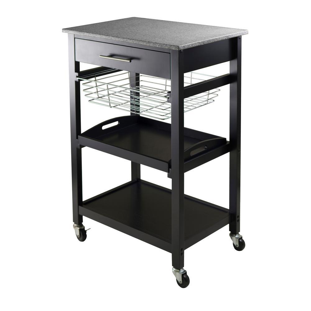 Merveilleux Winsome Wood Julia Black Kitchen Cart With Granite Top