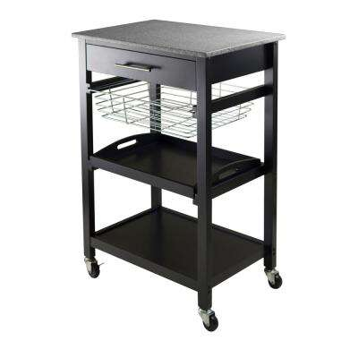 Julia Black Kitchen Cart with Granite Top