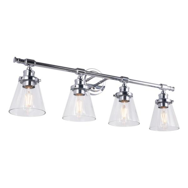 32.87 in. 4-Light Silver Vanity Light with White Glass Shade