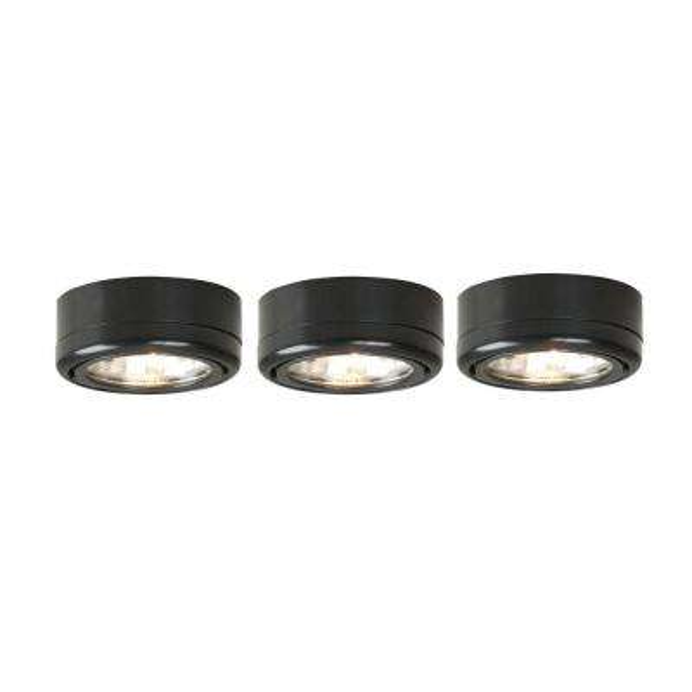 3-Light Black Under Cabinet Puck Kit