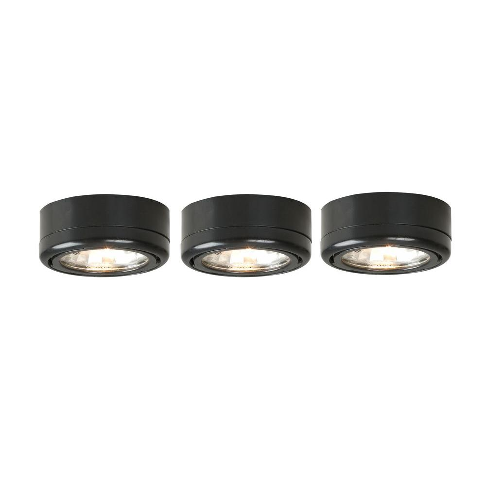 Xenon Black Under Cabinet Plug In Puck Light Kit 3 Pack