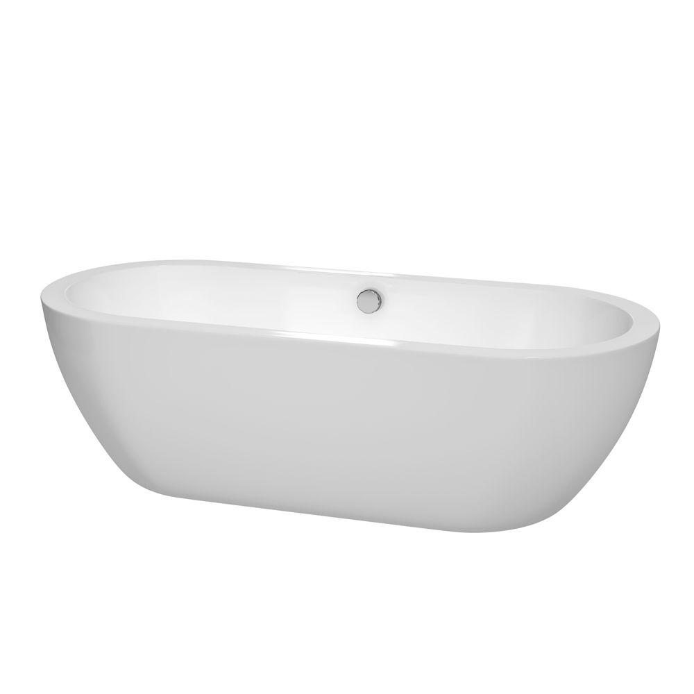 Wyndham Collection Soho 71.5 in. Acrylic Flatbottom Center Drain Soaking Tub in White