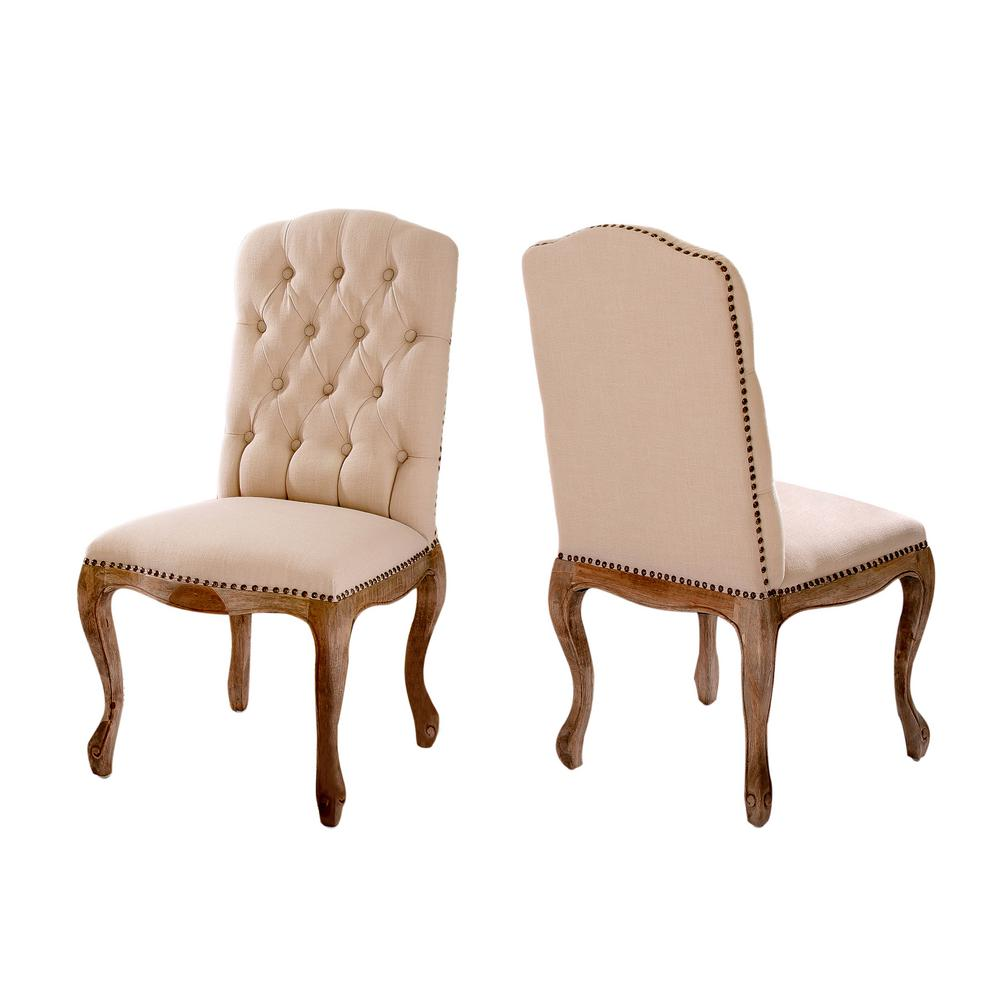 Le House Lucine Tan Fabric Studded Dining Chairs Set Of 2