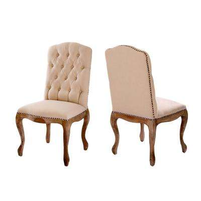 Lucine Tan Fabric Studded Dining Chairs Set Of 2