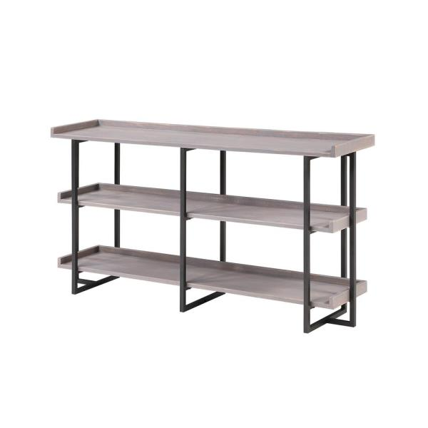 Fitzwallace 32 in. Antique Gray and Black Metal 3-Shelf Accent Bookcase with Open Back