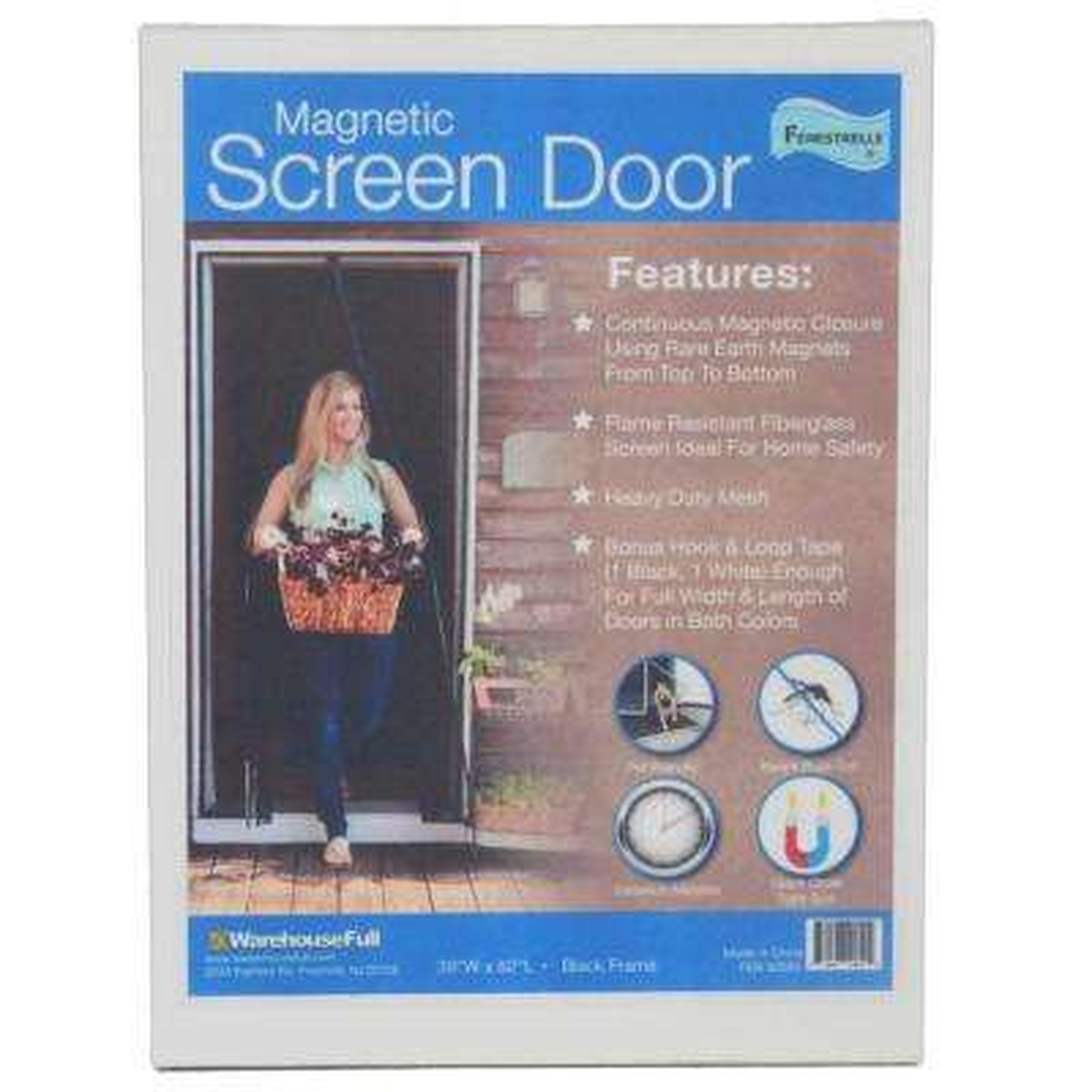 36 in. x 82 in. Black Fiberglass White Trim Magnetic Center Opening Screen Door