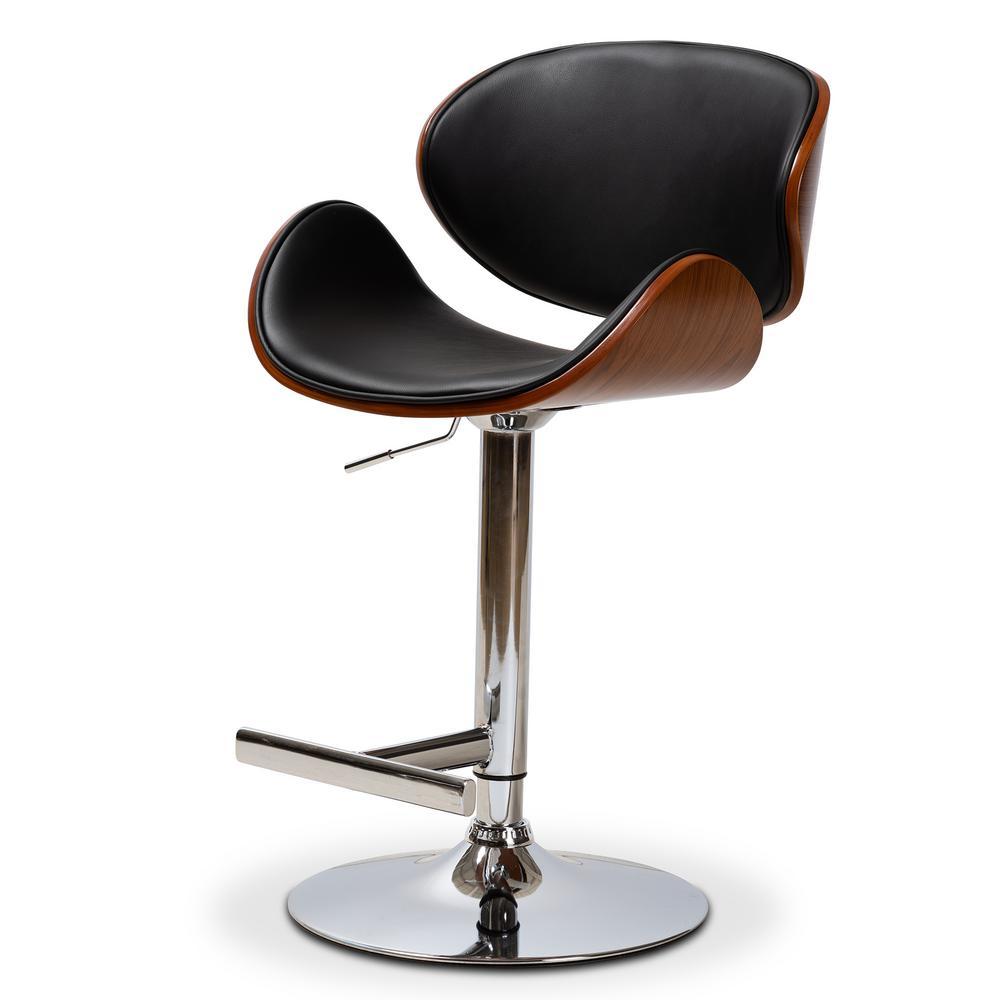 Baxton Studio Ambrosio 36 45 In Black Adjustable Swivel Bar Stool