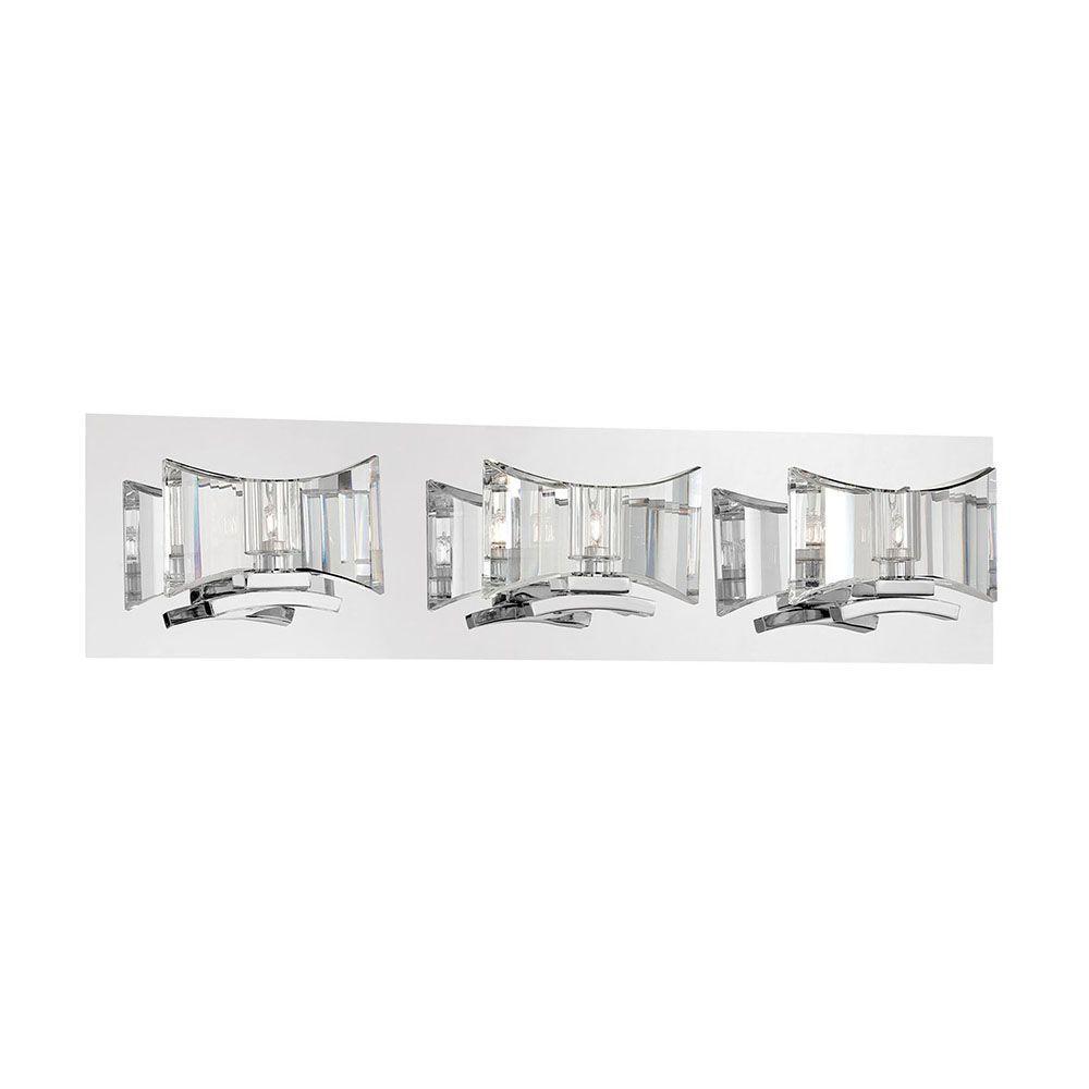 Uzo Collection 3-Light Chrome and Clear Bath Light