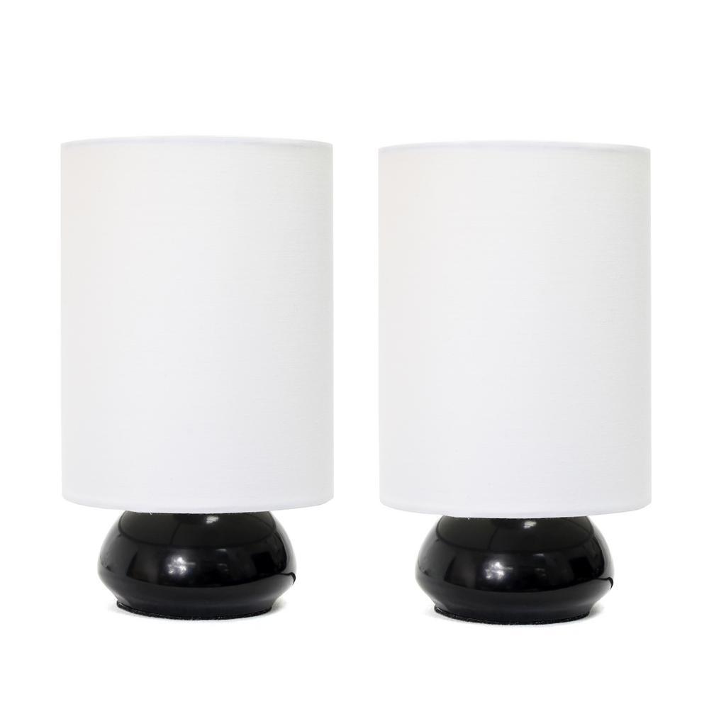 Simple designs gemini colors 9 in black mini touch table lamp set simple designs gemini colors 9 in black mini touch table lamp set with fabric shades geotapseo Choice Image